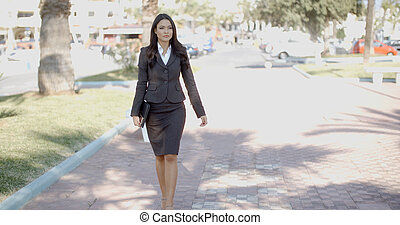 Business Woman Walking In The Street - Business woman...
