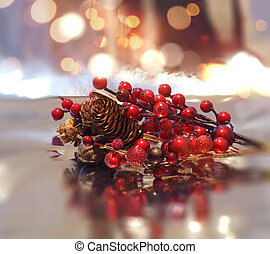Christmas decorations on a bokeh lights background