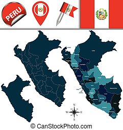 Map of Peru - Vector map of Peru with named divisions and...