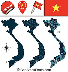 Map of Vietnam - Vector map of Vietnam with named divisions...