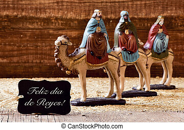 three kings and text feliz dia de reyes, happy epiphany in...