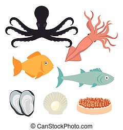 Sea food gastronomy graphic design, vector illustration...