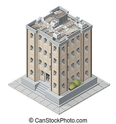 High rises isometric building icons for game vector...