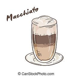 vector printable illustration of isolated cup of macchiato...