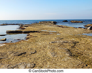 Rocky shore of the Caspian Sea Kazakhstan