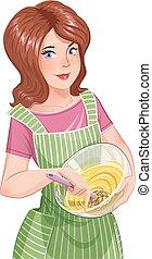 Beautiful girl cooking food