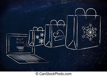 Christmas themed shopping bags coming out of a laptop -...