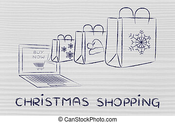 presents coming out of a laptop, with text Christmas...