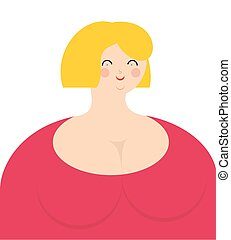 Cheerful woman Fat girl in pink dress with smile