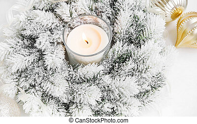 White Christmas Wreath with Burning Candle,Ribbon and Globes