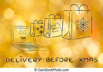 presents from a laptop, with text Delivery before Xmas -...
