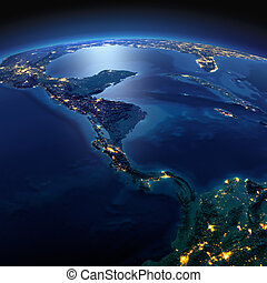 Detailed Earth The countries of Central America on a moonlit...