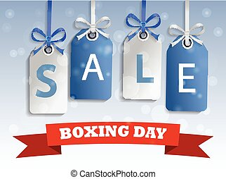 Boxing day sale tag hangig - Snow sale tag hangig blue and...