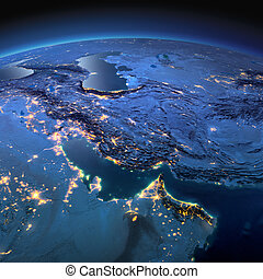 Detailed Earth. Persian Gulf on a moonlit night