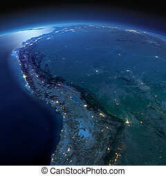 Detailed Earth. Bolivia, Peru, Brazil on a moonlit night -...