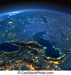 Detailed Earth Caucasus and the Caspian Sea on a moonlit...