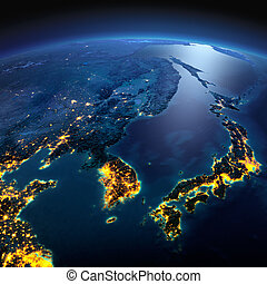 Detailed Earth. Korea and Japan on a moonlit night - Night...