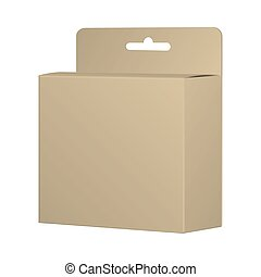Realistic Recycled Card Product Package Box Mockup With Hang Slot. Blank Container, Packaging Template. Vector