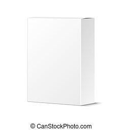 Realistic Blank White Product Package Box Mockup. Container,...