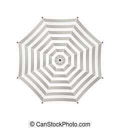 White Umbrella With Gray Stripes. Top View. Template For Your Design. Isolated On White Background. Vector