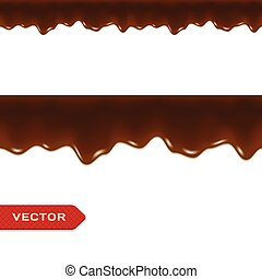 Melted Chocolate Drips. Seamless Border. Vector