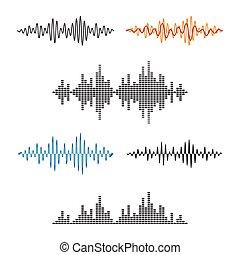 Waveform Shape. Soundwave. Audio Wave Graph Set. Vector.