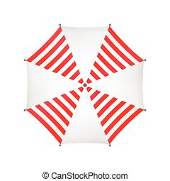 White Umbrella With Red Stripes. Top View. Template For Your Design. Isolated On White Background. Vector