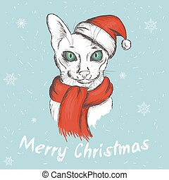 vector illustration of christmas green eyed cat. It is wearing a red christmas hat and a scarf