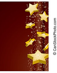 Shooting golden stars on brown background, vector...