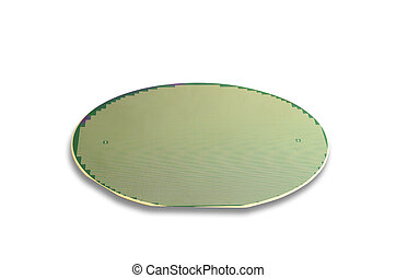 Silicon wafer isolated on white with movable shadow and...