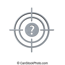 gun sight with question mark