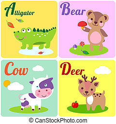 AbcLetters - Cute zoo alphabet in vector. A, b, c, d...