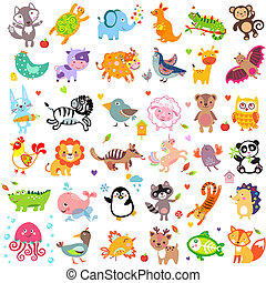 Animals - Vector illustration of cute animals and birds:...