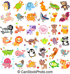 AnimalsBigThr - Vector illustration of cute animals and...