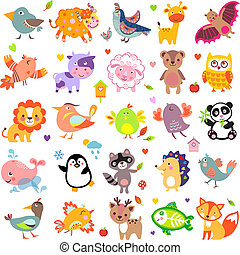 AnimalsBigTwo - Vector illustration of cute animals and...