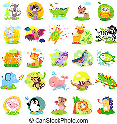 AnimalSet - Vector illustration of cute animals and birds:...