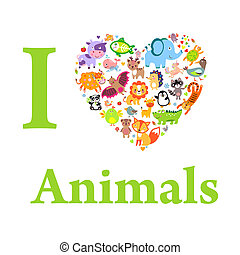 AnimalsLove - I love animals concept, Heart, Vector...