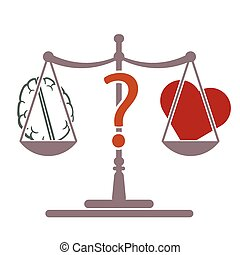 mind or heart decision vector - scale brain heart symbol as...