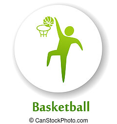Basketball - vector icon with basketball player silhouette