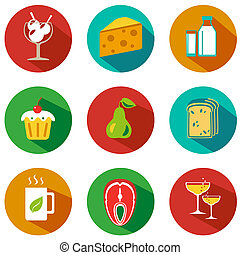 BigFoodA - Set of food and drinks icons. Vector...