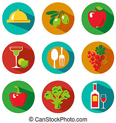 BigFoodC - Set of food and drinks icons. Vector...