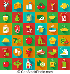 BigFoodSq - Set of food and drinks icons. Vector...