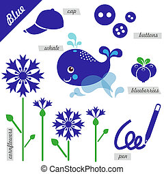 Blue - set of images as examples of Blue color, for kids,...