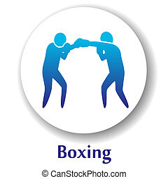 Boxing - vector icon with boxers silhouette