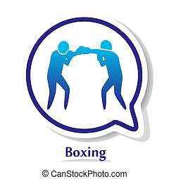 BoxingB - vector icon with boxers silhouette