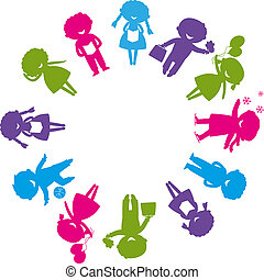 childhood - Cute colored children's silhouettes around the...