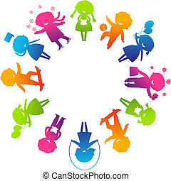 Children's Day concept Cute children silhouettes around...
