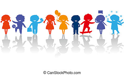children_silhouettes - Cute colored children silhouettes