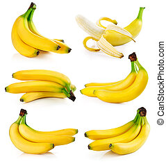 set fresh banana fruits isolated on white background