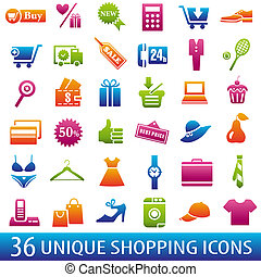 ColorShoppingIcons - Set of 36 shopping icons. Vector...